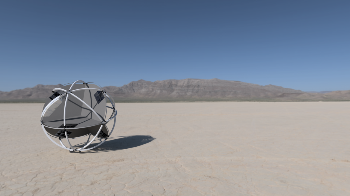Desert, wind-driven rover, looking like a ball