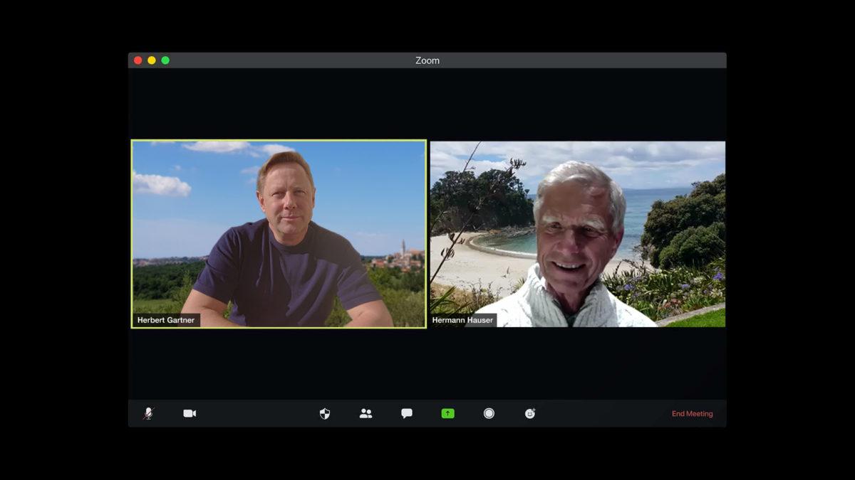 Screenshot of two men, Hermann Hauser und Herbert Gartner, in a video conference