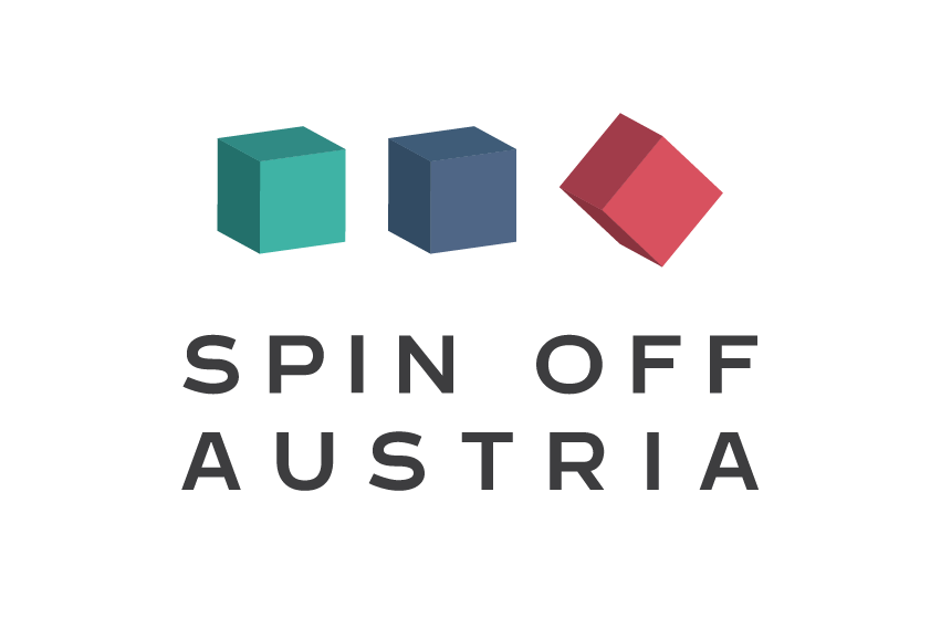 Logo Spin-Off: three squares, green, blue and red and the words Spin Off Austria