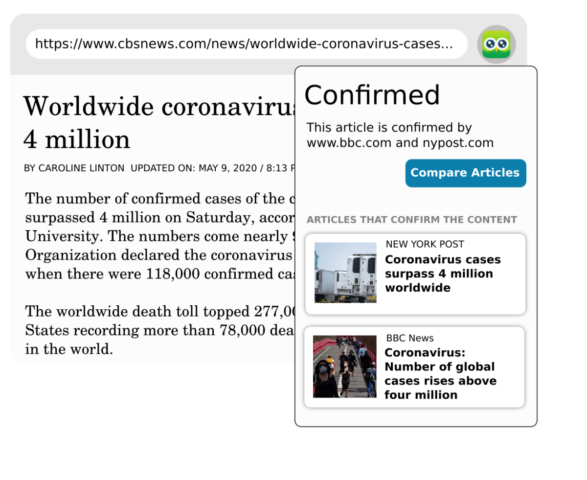 Example of service: Article online with box stating the confirmed content proved by other pages