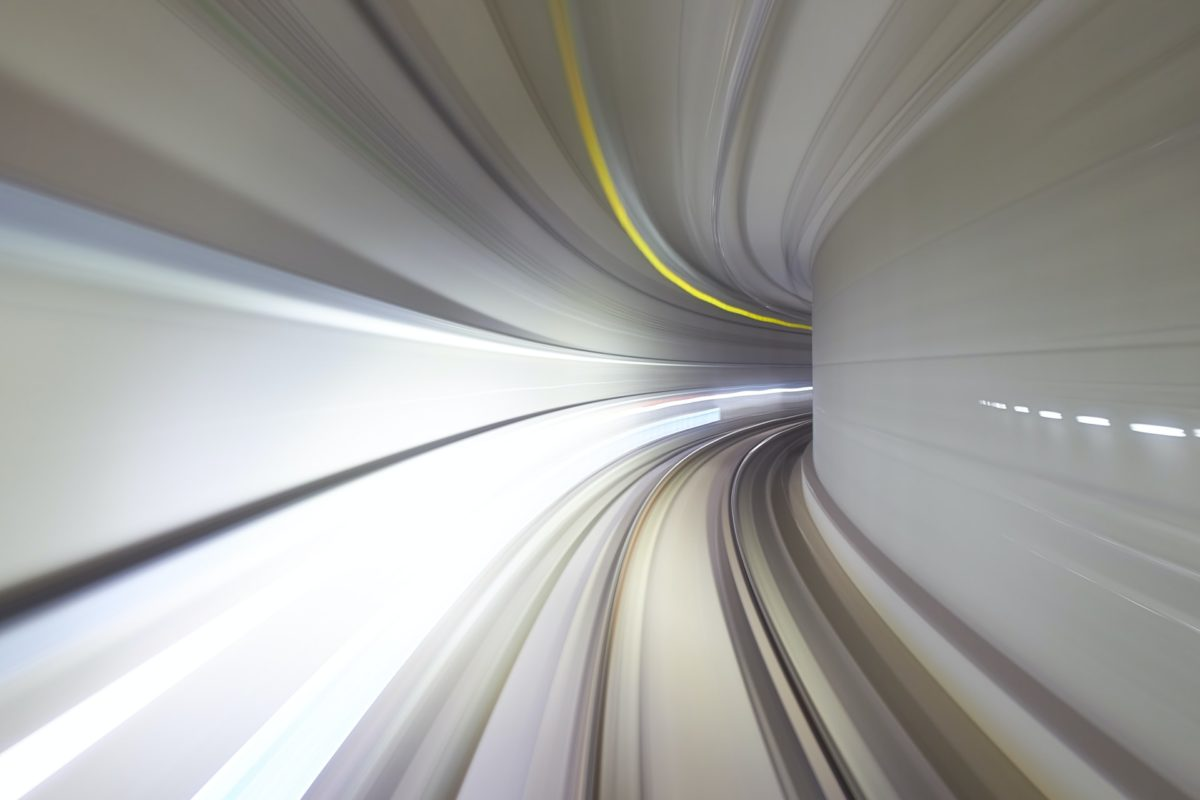 View into a tunnel in fill speed