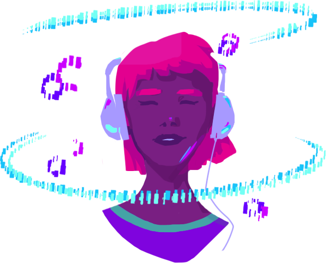 animated woman with headphones listening to music
