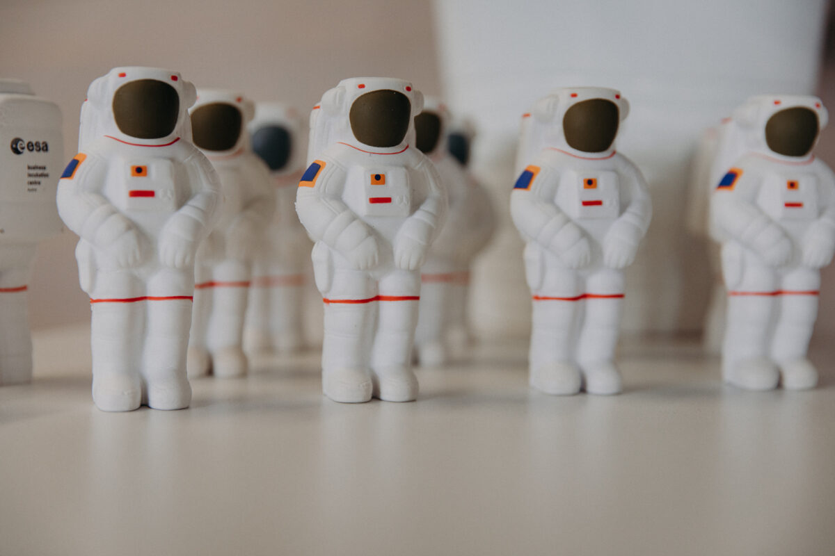 Little Astronauts (made of plastic) next to each other