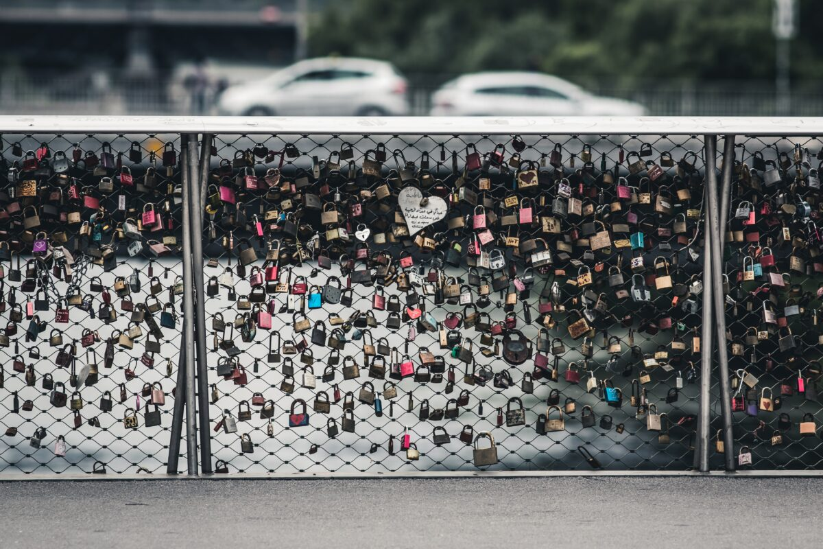 Main bridge in Graz with locks on it