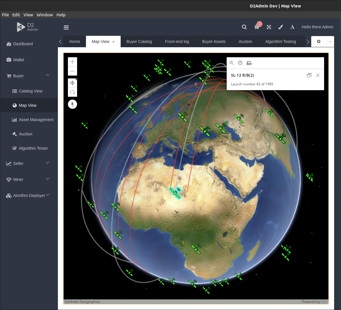 Screenshot of D2Admin Dev / Map View focusing on Earth and launch numbers
